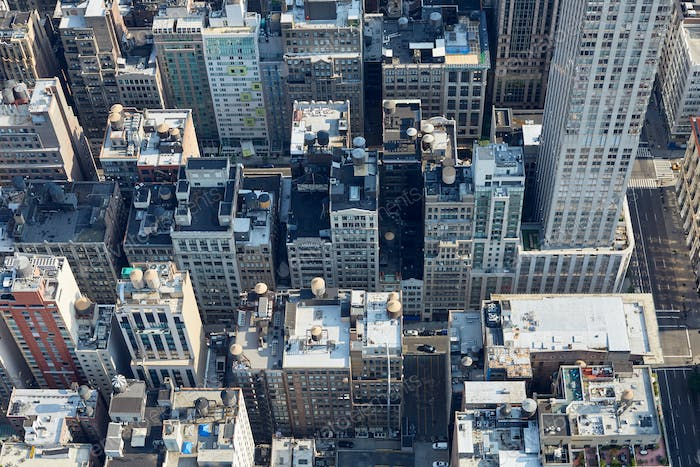 New York City Manhattan aerial view with buildings roof tops