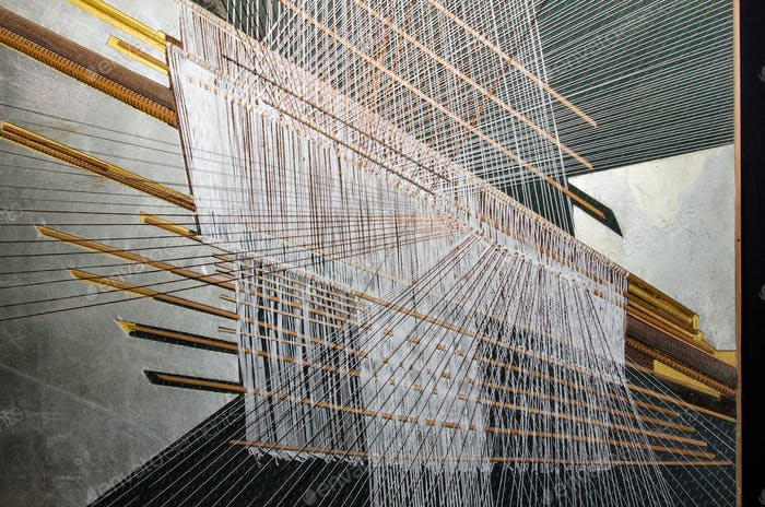 Traditional Thai silk hand weaving process