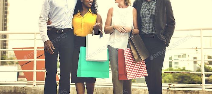 Gente Compras Amigos Comprando Concepto