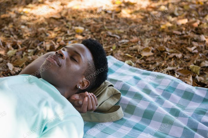 Young man sleeping on a picnic blanket