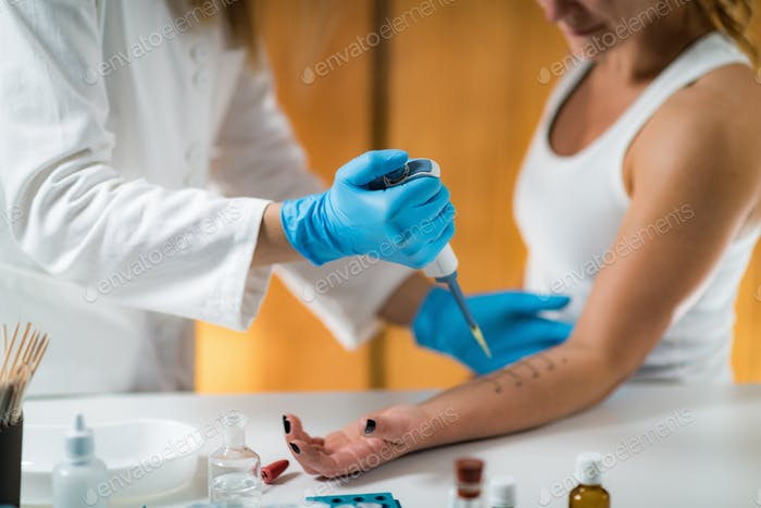 Immunology Doctor Measuring Allergic Reaction of Patient