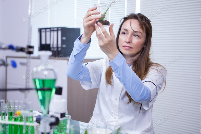 Female scientist holding up a sample of soil in a agriculture research lab