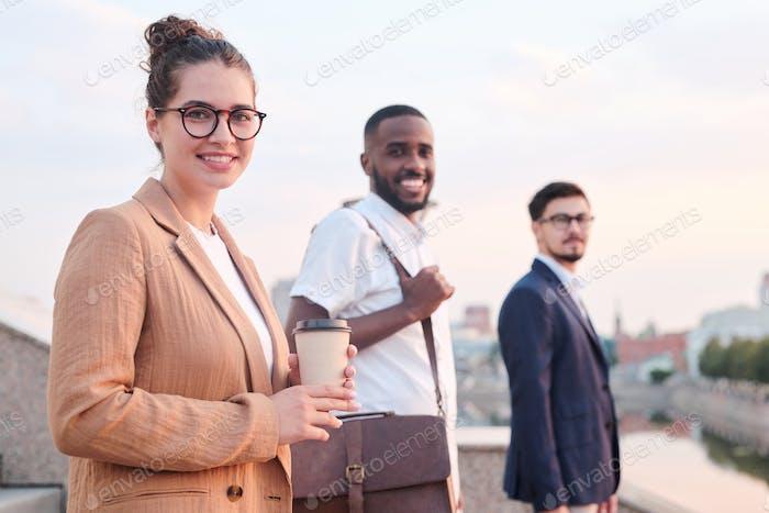 Portrait of positive adult students