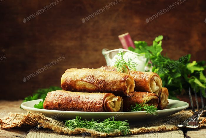 Pancakes with meat, rustic style