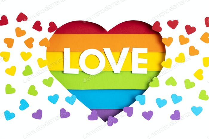 Paper heart with rainbow color stripes symbol of LGBT gay Pride