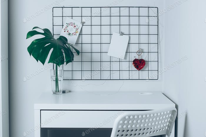 White home interior, office room. Grid mood board. Stylish white desktop. Mockup
