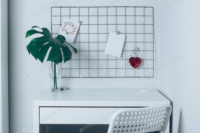 White home interior, office room. Grid mood board. Stylish white desktop. Mockup