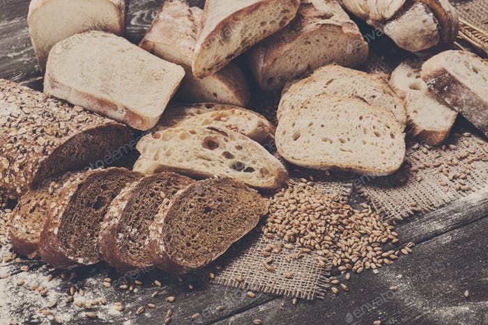 Bakery concept. Plenty of sliced bread background