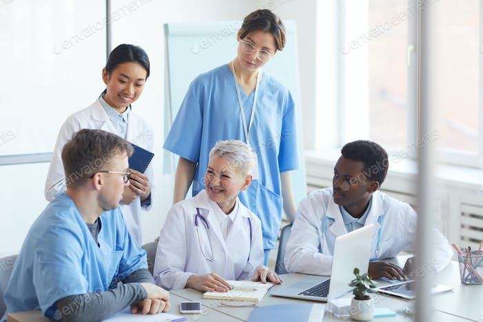 Multi-Ethnic Group of Doctors Using Laptop Together