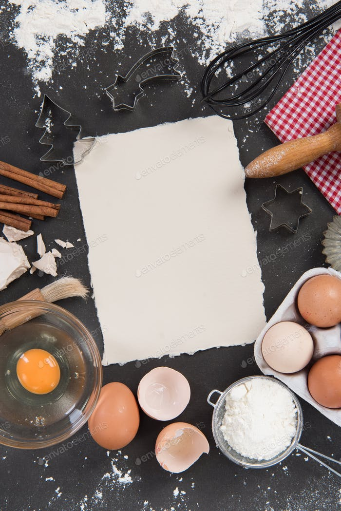 Baking recipe frame background with ingredients and utensils