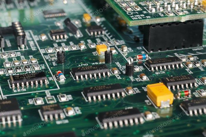 Large green PCB microcircuit board