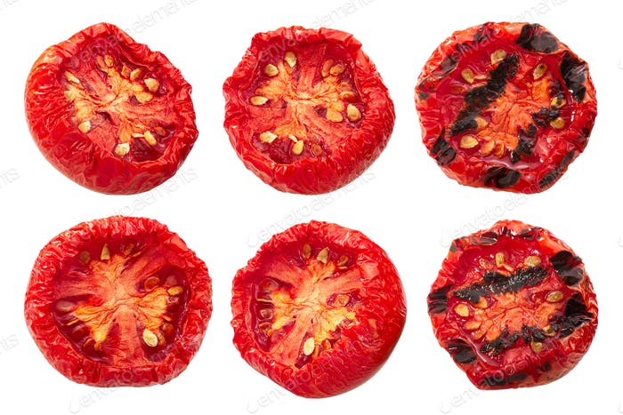 Semi-dried grilled tomato halves, paths
