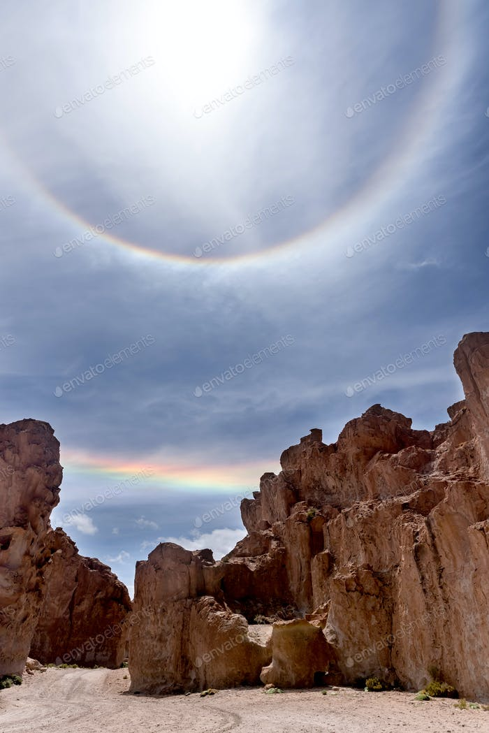 A double concentric rainbow in the Andean Highlands, Bolivia