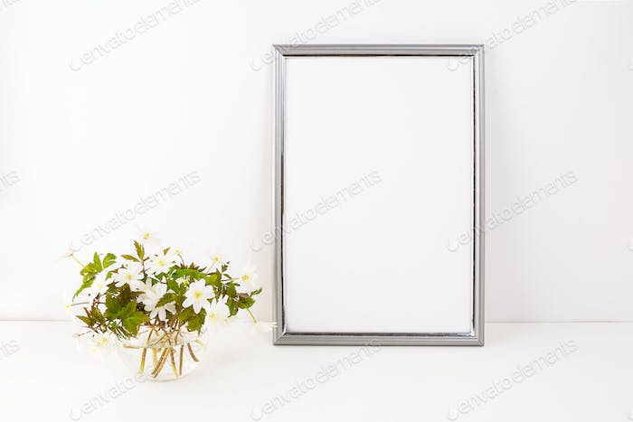 Silver frame mockup with Rue Anemone flowers