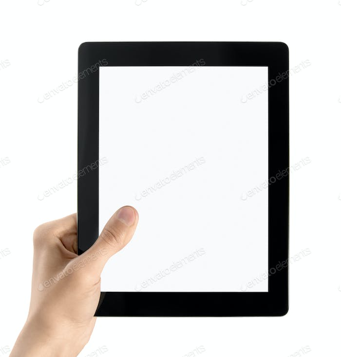 Hand Holding Electronic Tablet PC Isolated