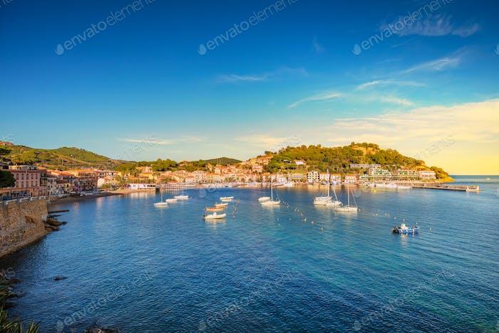 Elba island, Porto Azzurro village bay view. Tuscany, Italy.