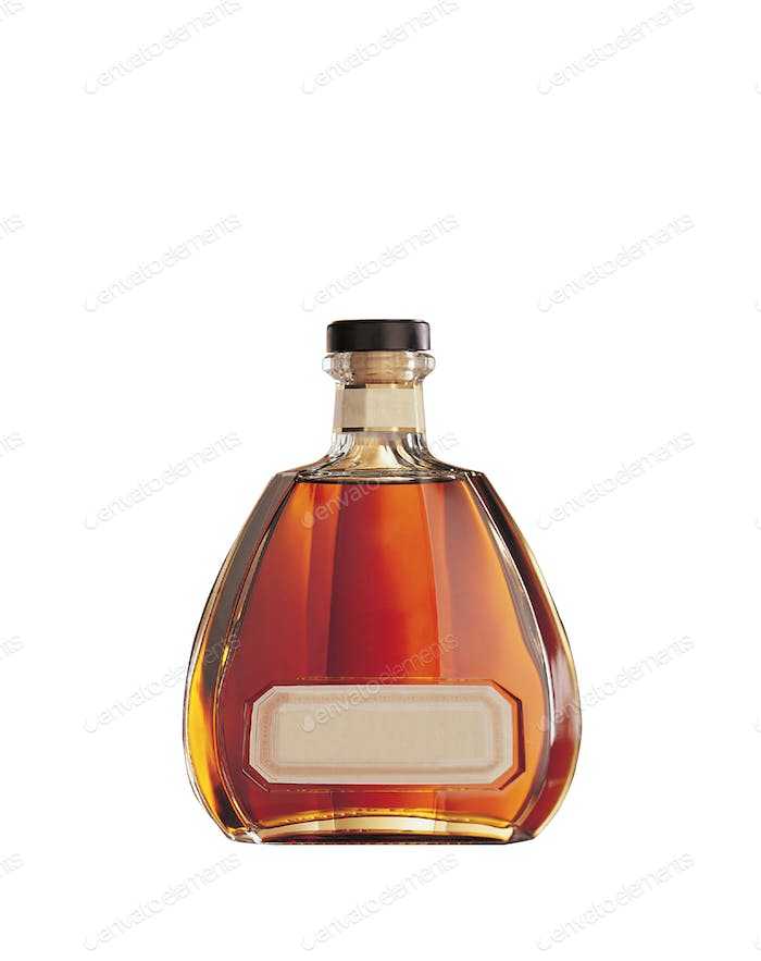 Bottle of cognac isolated