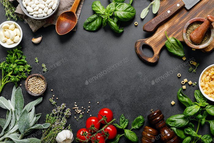 Culinary background with ingredients for cooking, herbs and spices