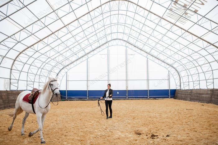 Active girl with bridles looking at white purebred racehorse riding down arena