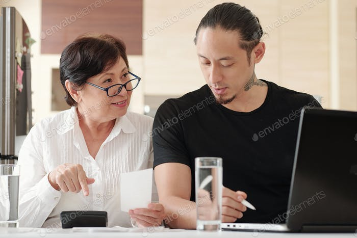 Family working with finance together