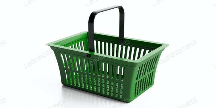 Shopping basket isolated against white background. Shopping groceries concept. 3d illustration
