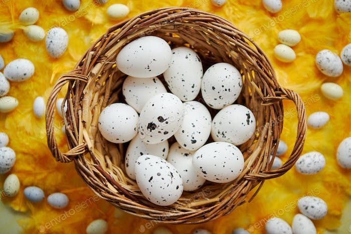 Easter holidays concept. White dotted chicken Eggs in the wicker