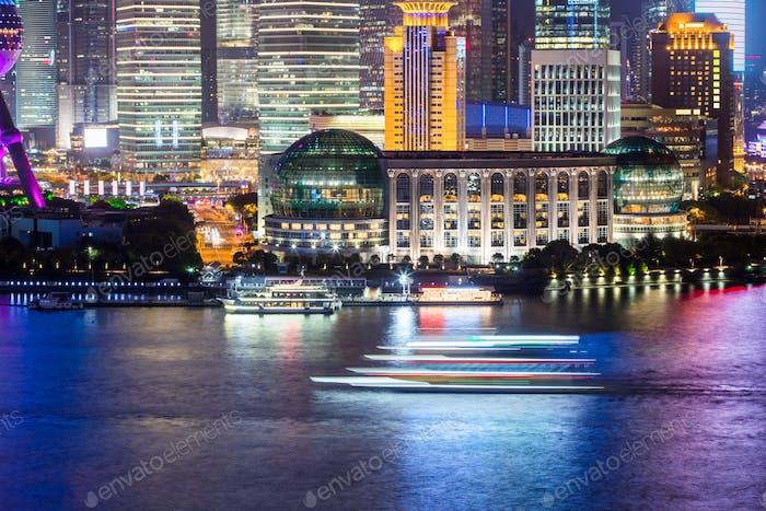 huangpu river view at night
