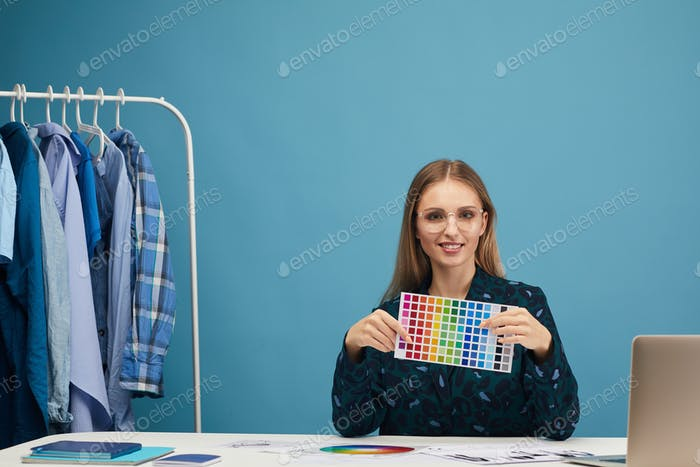 Designer working with colorful patterns