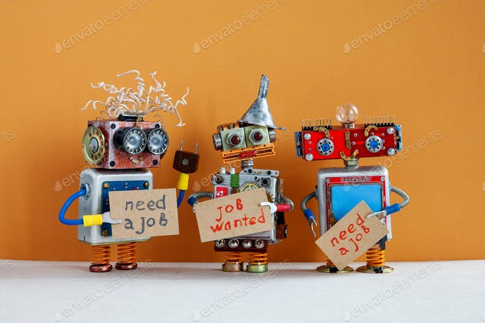 Vacancy search concept. Three robots wants to get a job. Unemployed robotic characters with a