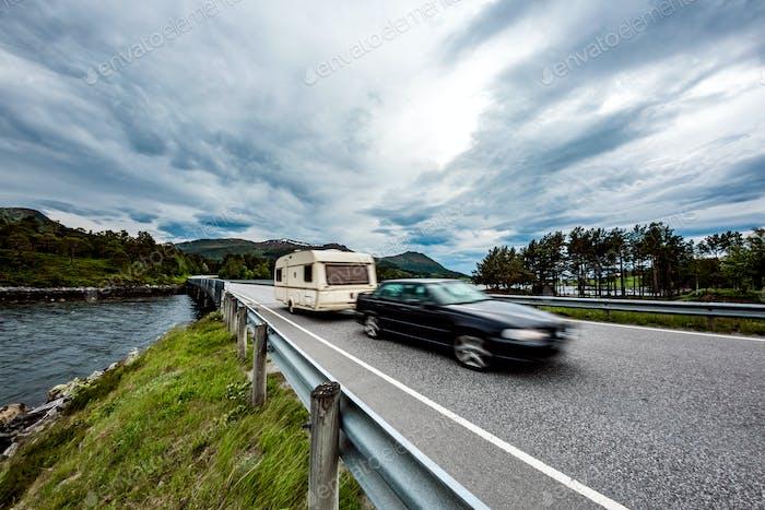 Family vacation travel, holiday trip in motorhome, caravan car m