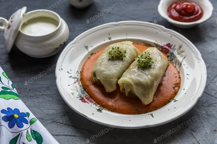 Traditional polish dish - golabki. Cabbage leaves stuffed with minced meat and rice