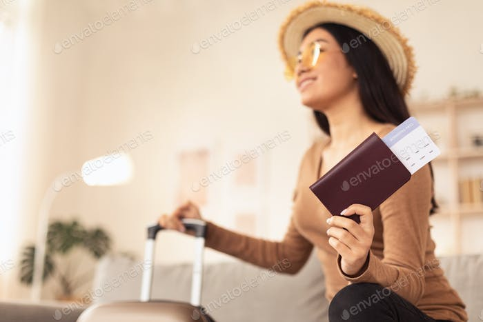Stylish Tourist Girl Holding Tickets Wearing Sunglasses At Home