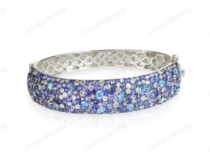 Blauer Saphir Diamant Armreif Armband