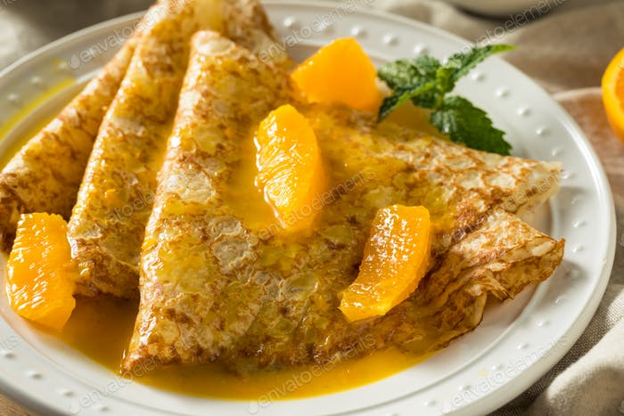Sweet Homemade Orange Crepes Suzette