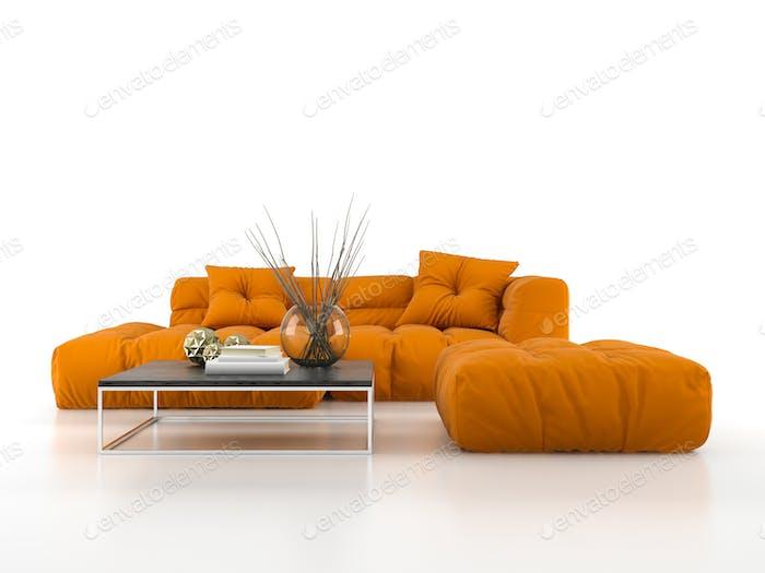 Modernes Sofa isoliert auf weißem Hintergrund 3D Rendering