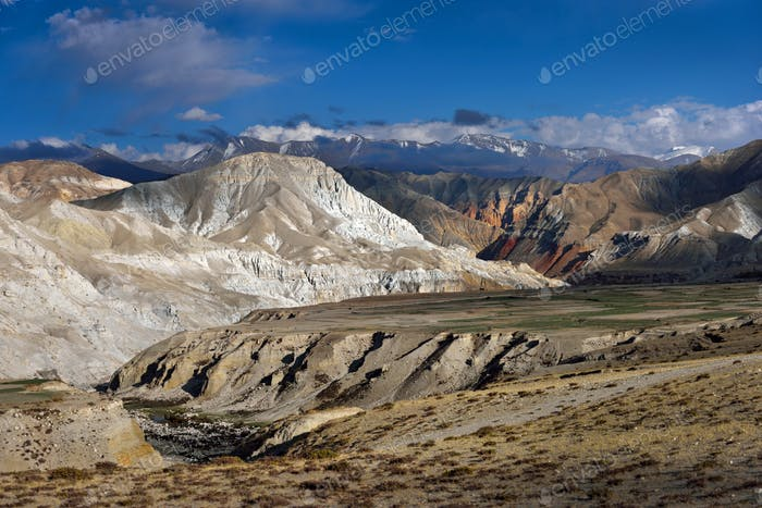 Panoramic view of Upper Mustang mountains