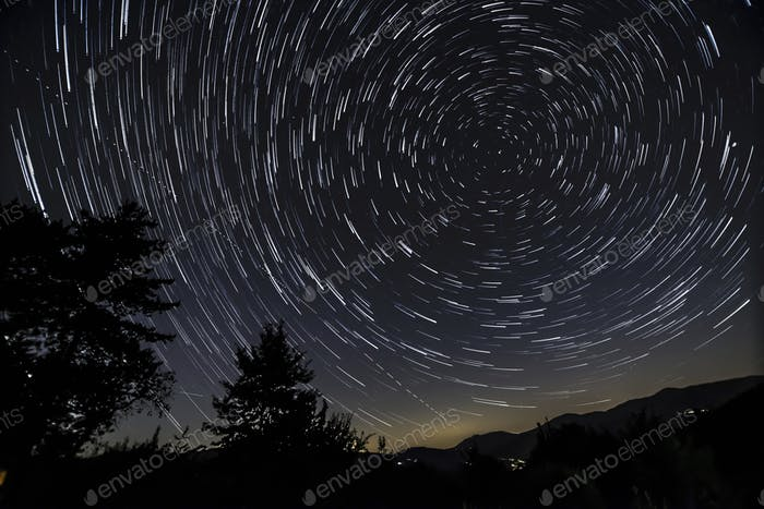 Polar star trail photograph
