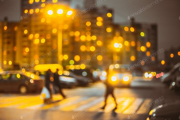 Defocused Blue Boke Bokeh Urban City Background Effect. Design Backdrop In Trend 2021 Colors Yellow