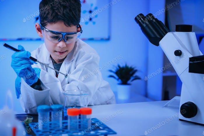 Schoolboy using lab equipment, laboratory education concept