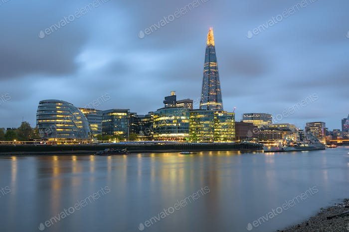 London skyline at dusk on a cloudy day