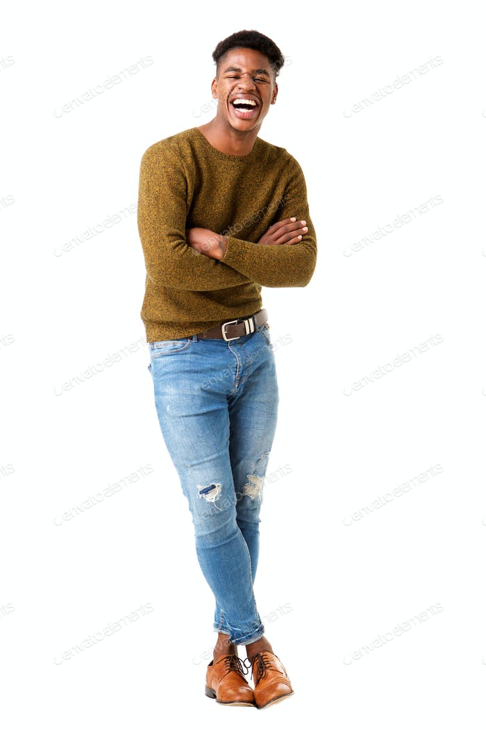 Full body handsome young african american man laughing against isolated white background