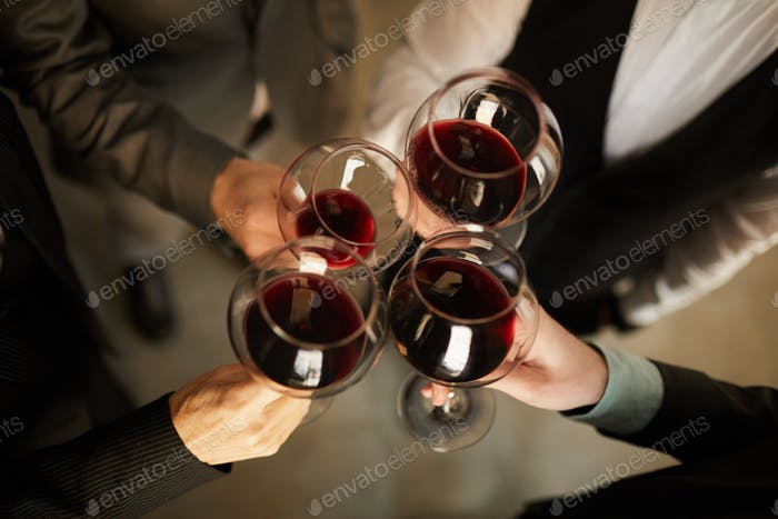 Business people Drinking Wine Above View