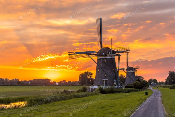 Windmills in a row at orange sunset