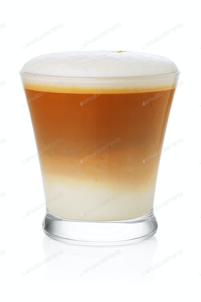 Glass of cappuccino on white