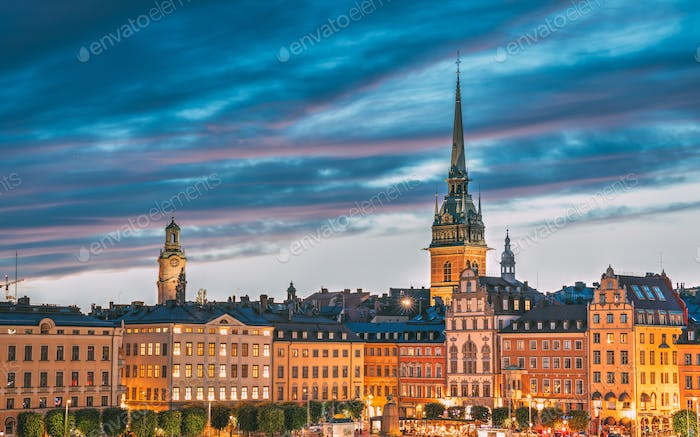 Stockholm, Sweden. Scenic View Of Skyline At Evening Night. Tower Of Storkyrkan - The Great Church