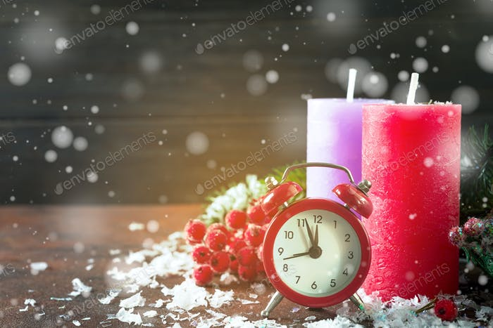 christmas countdown to the new year with snow clock anddecoration and fir spruce branches