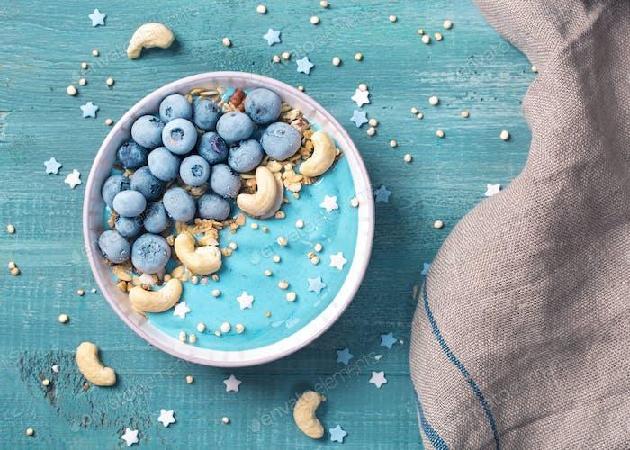 Healthy blue spirulina smoothie