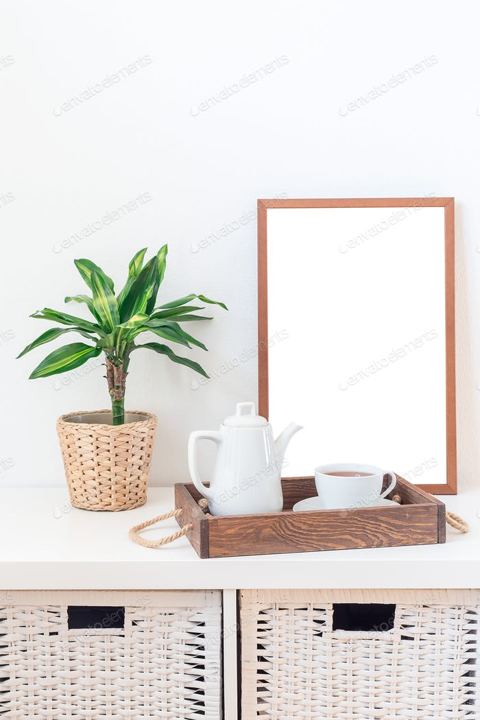 Scandinavian style home interior with empty white board, copy space