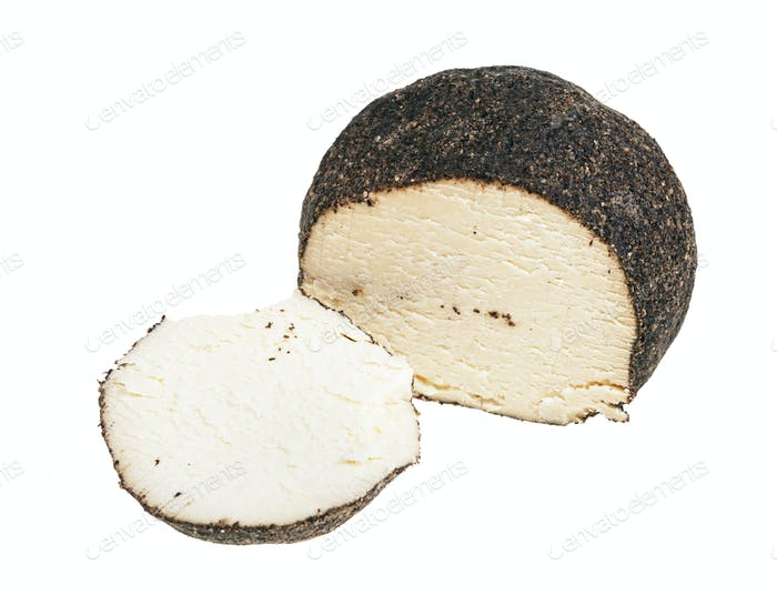cheese coated by black pepper with cutted piece