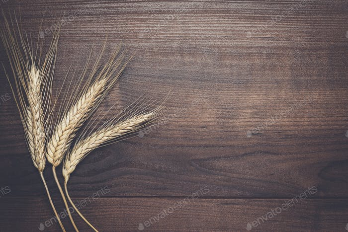 ears of rye on brown wooden background